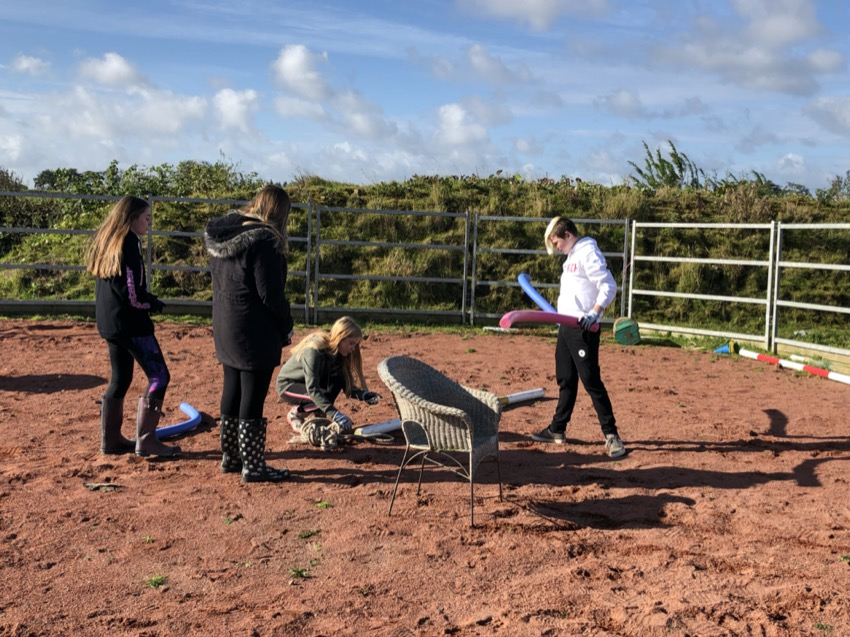 TEAMWORK - BUILDING AN OBSTACLE COURSE FOR THE PONY
